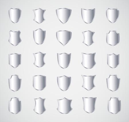 shield: Dise�o del escudo de plata conjunto con diversas formas. Vectores
