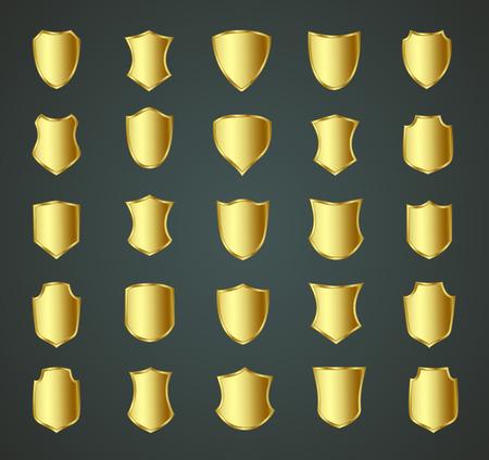 shield: Dise�o del escudo de oro conjunto con diversas formas. Vectores