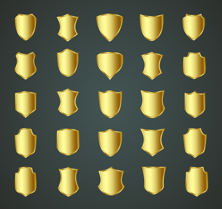 military shield: Golden shield design set with various shapes.