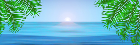 tropical beach panoramic: View of tropical sea between the palm trees under blue sky. Vector illustration for your banner. EPS 10