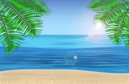 De zee, palmbomen en tropische strand onder de blauwe hemel. Vector illustratie. EPS 10