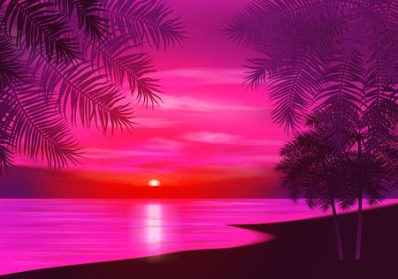 夏の夜。夕日の背景にヤシの木。ベクトルの図。EPS 10