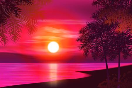 Summer night. Palm trees on the background of sunset. Vector illustration. EPS 10 Vectores