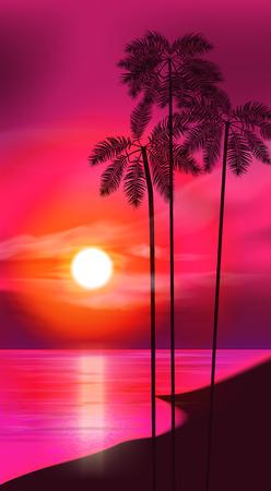 sunset beach: Summer night. Palm trees on the background of sunset. Vector illustration. EPS 10 Illustration