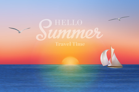 Sunrise in the sea with a sailboat and seagulls. Summer holidays vector background.