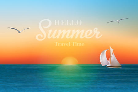 Salida del sol en el mar con un velero y gaviotas. Vacaciones de verano de vectores de fondo.