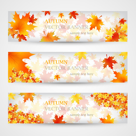 october: Three autumn banners with colorful leaves. Vector illustration