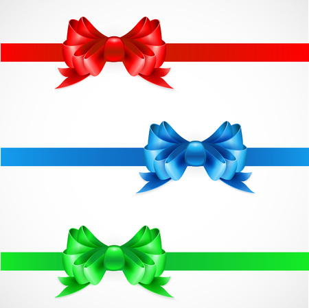 copy spase: Set of gift bows with ribbons. Red, green and blue color. EPS 10 Illustration