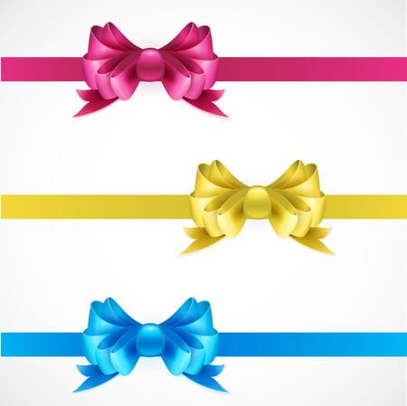 copy spase: Set of gift bows with ribbons. Pink, gold and blue color. EPS 10