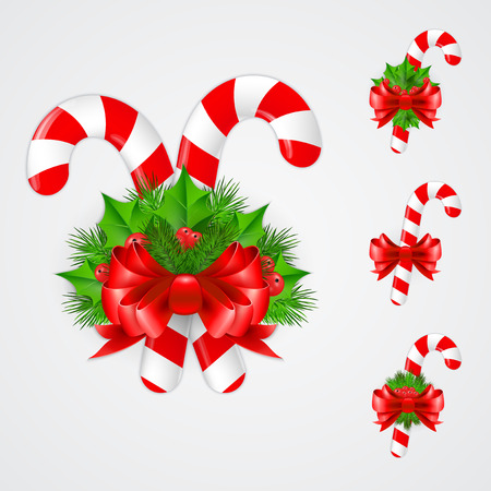 christmas candy: Set of traditional Christmas candy cane decoration. Vector illustration. EPS 10