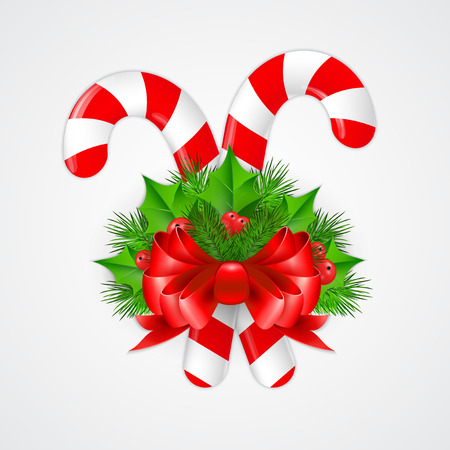christmas candy: Traditional christmas candy cane with decor. Vector illustration.