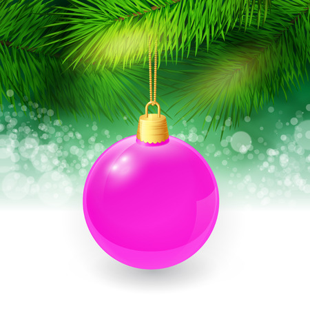 twigs: Christmas background with fir twigs and christmas ball. Vector illustration. EPS 10 Illustration