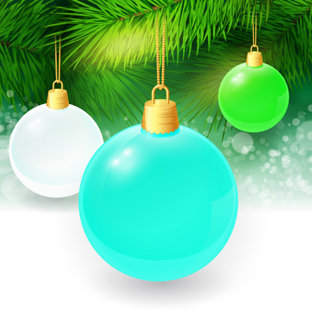 twigs: Christmas background with fir twigs and christmas balls. Vector illustration. EPS 10