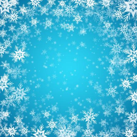 schneeflocke: Blauer Hintergrund mit Schneeflocken. Illustration