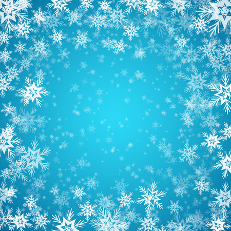 the snowflake: Blue background with snowflakes.  Illustration