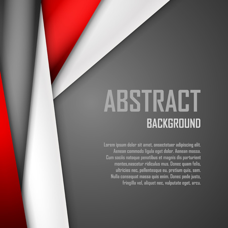 construction paper art: Abstract background of red, white and black origami paper.