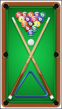 9 ball billiards: Billiard set. Billard balls, cue and billiard triangle in a pool table.