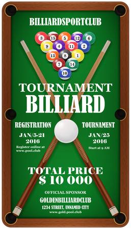 pool cue: Design poster. Billiard Tournament. Billard balls and  cue in a pool table.  Illustration