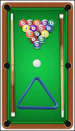 pool cue: Billiard set. Billard balls, cue and billiard triangle in a pool table.