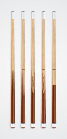 cue sticks: Billiard cue sticks on white background. Illustration