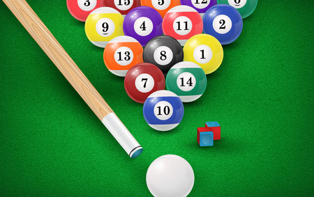 9 ball billiards: Billiard balls in a pool table. Illustration
