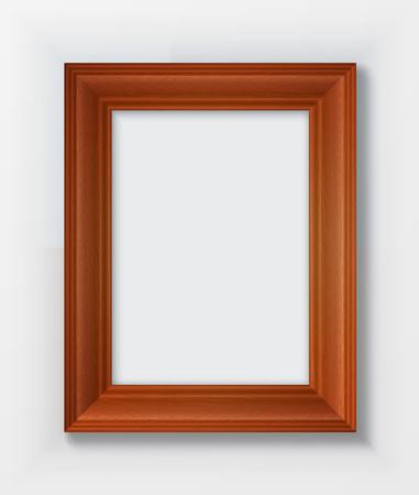bordering: Classic wooden frame isolated on white background.  Illustration