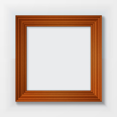 Classic wooden frame isolated on white background.  Illustration