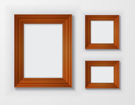 bordering: Set classic wooden frames on white background.