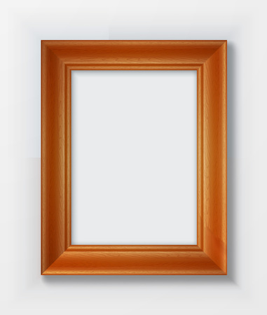 bordering: Classic wooden frame isolated on white background.