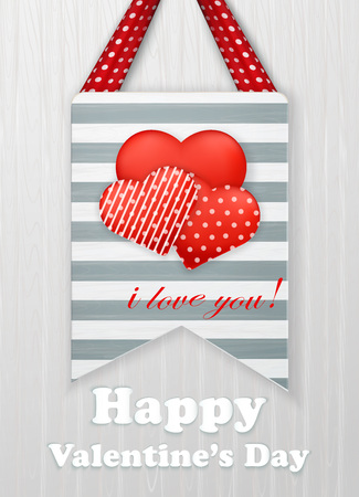 white day: Valentines day card with hearts and words of love on white background.