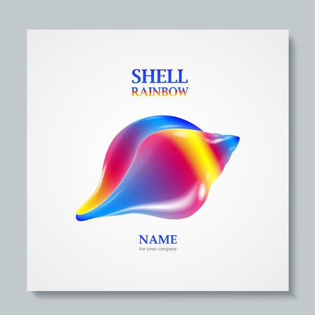 mollusc: Luxury image logo Rainbow Seashell. To design postcards, brochures, banners, logos, creative projects. Illustration