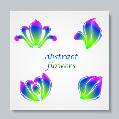 cosmetician: Luxury image logo Rainbow Abstract Flowers Set. Business design for spa, yoga class, hotel and resort. EPS 10