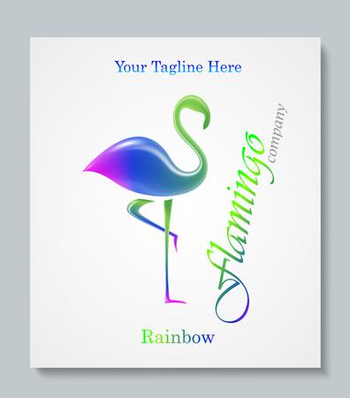 business class: Luxury image logo Rainbow Flamingo. Business design for spa, yoga class, hotel and resort. Vector illusration. EPS 10 Illustration