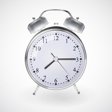 twenty second: Illustration of Metal alarm clock on isolated white background. Vector. EPS 10