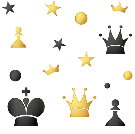 queen of clubs: Seamless pattern of colored chess pieces on a white background.