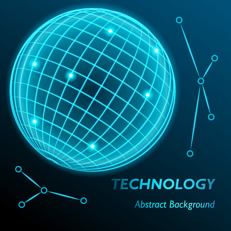 globe grid: Neon grid globe background. Sphere with modern neon glow. Vector illustration.