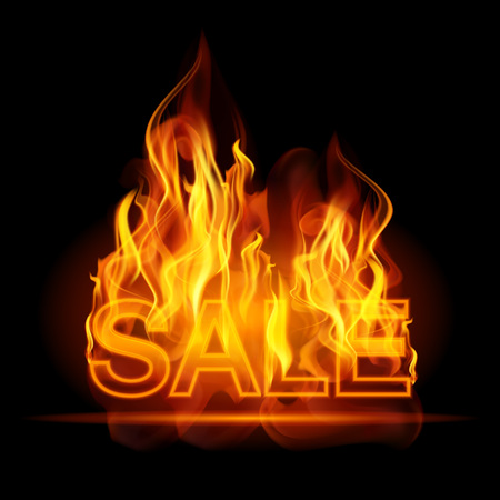 Hot sales billboard banner with glowing text in flames. Poster. Abstract vector illustration. EPS 10