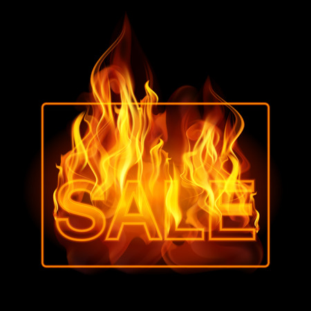 ablaze: Hot sales billboard banner with glowing text in flames. Poster. Abstract vector illustration. EPS 10