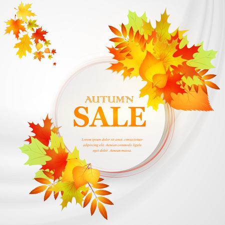 autumn background: Advertising discount banner with fallen leaves. Autumn sale hand drawn. Vector illustration
