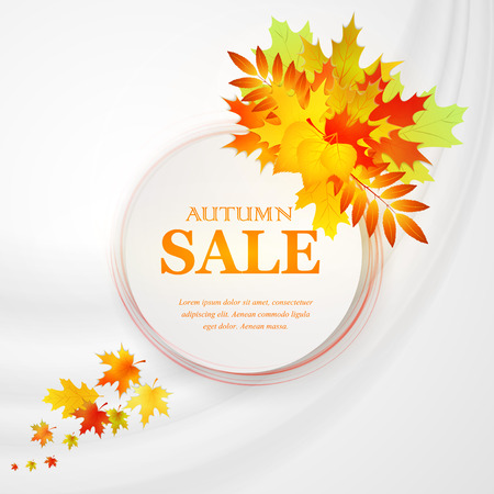 Advertising discount banner with fallen leaves. Autumn sale hand drawn. Vector illustration