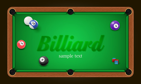 Billiard poster. Pool table background illustration with billiard balls and billiard chalk Stock Photo