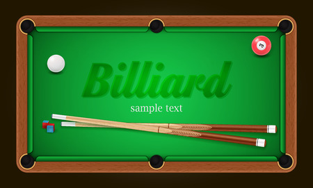Billiard poster. Pool table background illustration with billiard balls and billiard chalk and cue