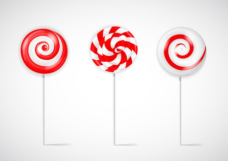 Realistic Sweet Lollipop Candy Set on White Background. Illustration