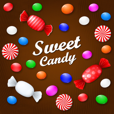 Colored candies, sweets and lollipops. On a brown wooden background. View from above. Ilustração