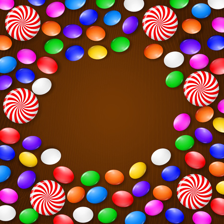 Colored candies, sweets and lollipops. On a brown wooden background. View from above. Ilustrace