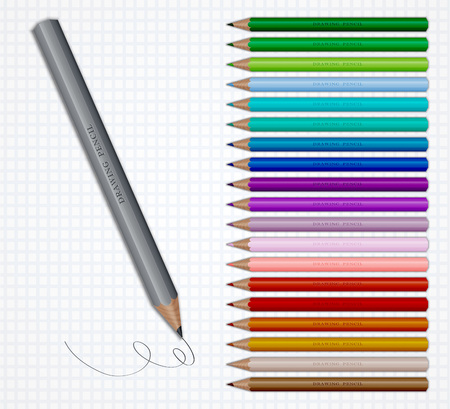 Set of Coloured pencils. Illustration on grid paper
