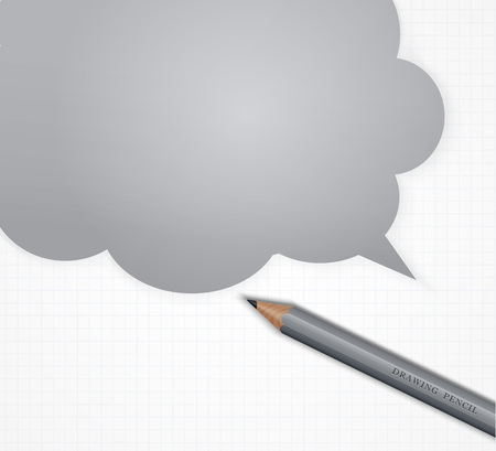 Pencil with speech bubble on grid paper vector background.