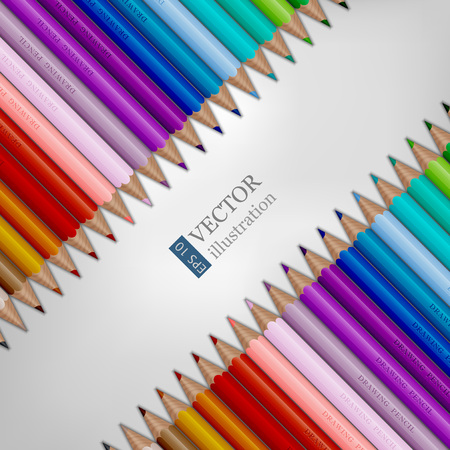 Rows of rainbow colored pencils on white background.