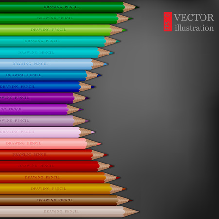 Arrow shape of rainbow colored pencils on dark grey background. Ilustrace