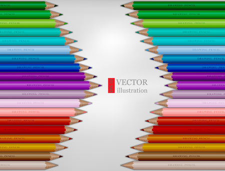 Arrow shape of rainbow colored pencils on white background.